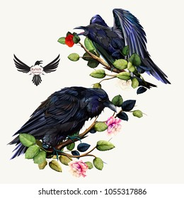Illustration of Raven on branch with roses and leaves. Hand drawn, vector- stock.
