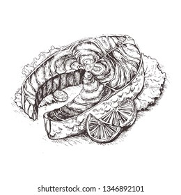 Illustration Raw steak of carp fish with lemon and thyme.Sketch  Preparing fish for roasting in parchment paper. Diet menu.Great for menu,restaurant,cafe, poster or label.Grilled salmon steak.