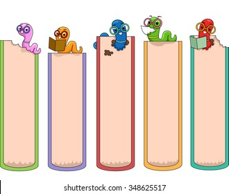 Illustration of Ready to Print Bookmarks Featuring Cute and Colorful Worms
