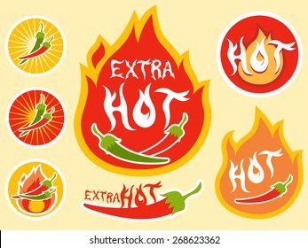 Illustration of Ready to Print Labels for Hot Sauce Bottles