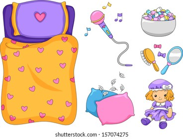 Illustration of Ready to Print Slumber Party-Related Elements