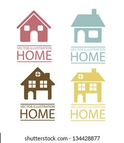 Illustration of real estate icon, conceptual icon with house, vector illustration