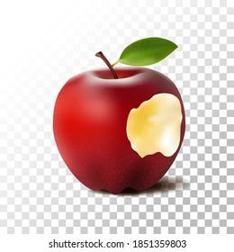 Illustration realistic bitten apple red on transparent