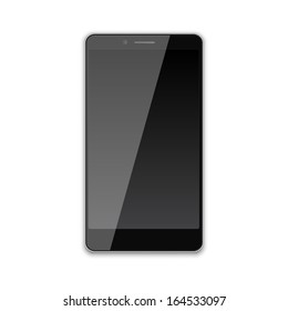 Illustration of realistic black smartphone isolated on white background.
