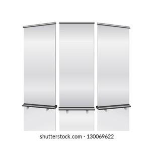 Illustration of realistic, blank roll ups on white background