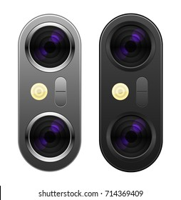 Illustration Realistic Dual Lens Camera Black and Silver colors on Smartphone or other gadgets with flash