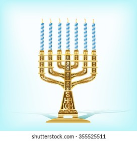 illustration of realistic golden menorah with seven blue candles