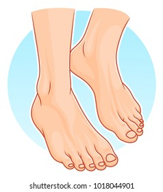 Illustration of realistic human feet on the blue round background.