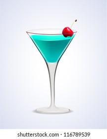 Illustration of realistic Martini Cocktail Glass