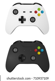 Illustration Realistic Mock-up Set of Modern Wireless Game Controllers Black and White Vector