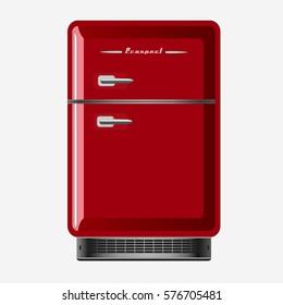 Illustration realistic red retro fridge on flat design