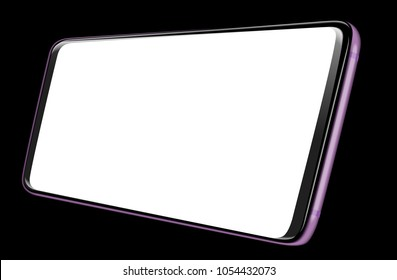 Illustration Realistic Smartphone Vector blank screen horizontal, isolated on white background