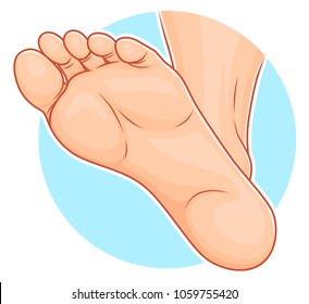 Illustration of realistic sole of foot on the blue round background.
