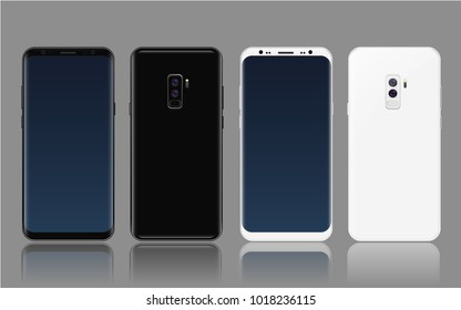 Illustration Realistic Vector Mockup New Generation of Smartphone 2018 with round edges, blank screen, no Home Button and frameless curved Display 2 colors black and white  with dual camera and flash.