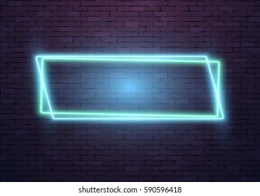 Illustration of Realistic Vector Neon Frame Icon. Vintage Neon Sign. Bar Advertising Retro Glowing Neon Frame Template