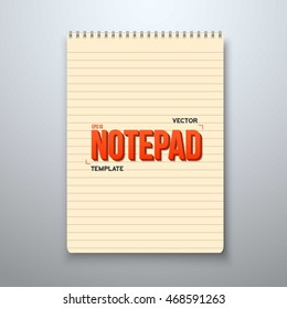 Illustration of Realistic Vector Notepad Office Equipment. Yellow Paper Spiral Notepad with Horizontal Lines.
