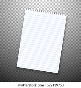 Illustration of Realistic Vector Notepad Office Equipment. Paper Notepad Isolated on Transparent PS Style Background.