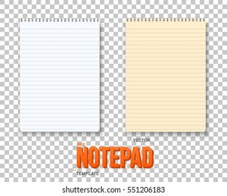 Illustration of Realistic Vector Notepad Set. Office Equipment, School Supply Vector Paper Notebook with White and Yellow Sheets