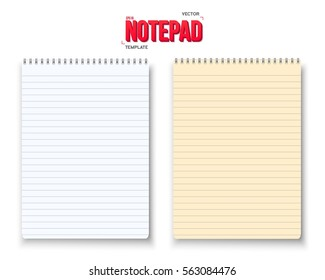 Illustration of Realistic Vector Notepad Set. Vector Paper Notebook with White and Yellow Sheets Isolated on White Background