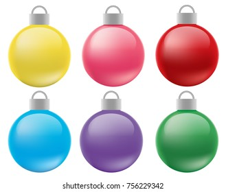 Illustration Realistic Vectors Set of Christmas Balls Decoration Isolated