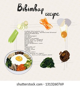 Illustration for recipe bibimbap. Bibimbap korean traditional dish with fried egg. Asian cuisine. Set of bibimbap products. Hand drawn vector illustration.