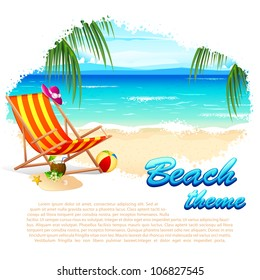 illustration of recliner in sea beach with palm tree