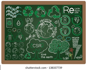 illustration of recycle, reduce, reuse, green concept design icon element collection set written on blackboard background vector, eps10