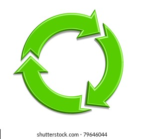 illustration of recycle symbol on isolated background