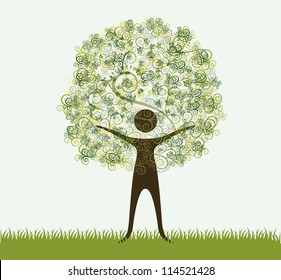 illustration of recycling, tree formed by a person silhouette, vector illustration