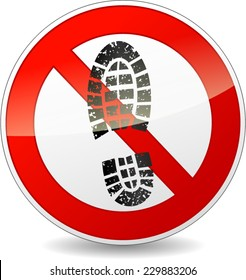 illustration of red and black circle sign for no shoes walking