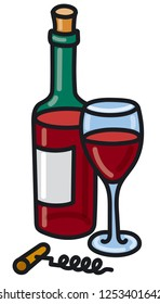 illustration of red bottle wine with glass full of wine and corkscrew