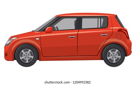 illustration of red car hatchback