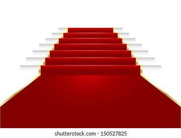 illustration of a red carpet on staircase