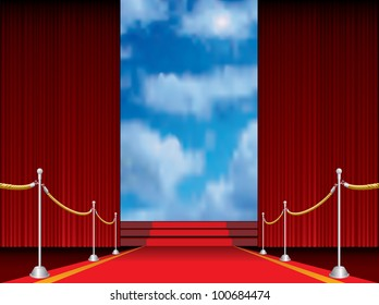illustration of red carpet with stairs to heaven
