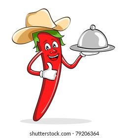 illustration of red chili pepper wearing cow boy hat serving food