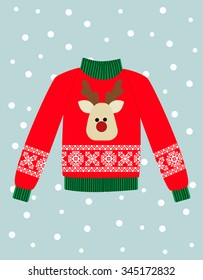 illustration of a red Christmas sweater with deer.