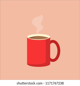 Illustration of red coffee mug with steam. Vector image of coffee cup. EPS10 compatible