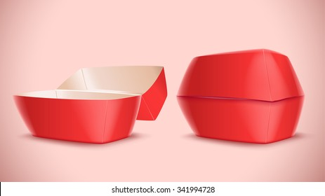 Illustration Of Red Color Hamburger Box Opened And Closed On Bright Background