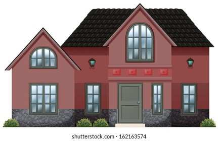 Illustration of a red concrete house on a white background