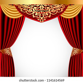 illustration of a red curtain with a gold lambrequin and a picturesque screen