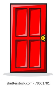 illustration of red door