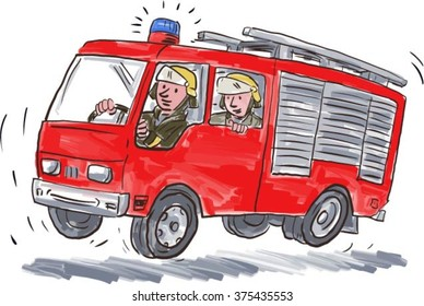 Illustration of a red fire truck engine firefighting apparatus with fireman fire fighter emergency worker riding on isolated white background.