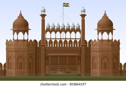 Illustration of Red fort in New Delhi, EPS 10 contains transparency