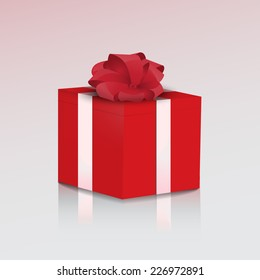 Illustration of the red gift box with red bow.