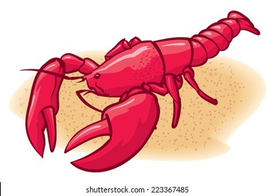An Illustration of a red lobster on the beach