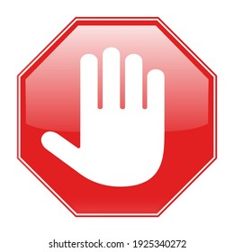 illustration of a red octagonal stop sign for prohibited activities on a white background