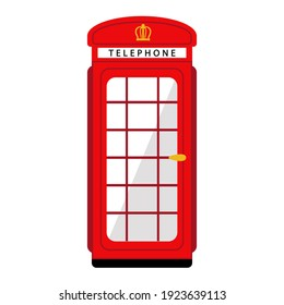 Illustration of a red old London telephone booth. Idea for postcards, travel gifts or souvenir shop.