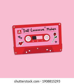 """Illustration of a red plastic audio cassette tape, with a pink label that reads """"Self-love"""" mixtape, heart and flower stickers on it. Old technology, realistic retro design, vector art image drawing."""