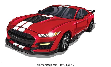 Illustration of red  sport car Mustang with two white strips on car hood . All illustrations are easy to use,editable and layered. Vector detailed muscle car isolated on white background