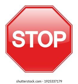 illustration Red Stop Sign on white background. Traffic regulatory warning stop symbol.